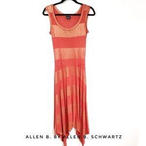 ALLEN B. STRIPED SLEEVELESS HIGH LOW DRESS